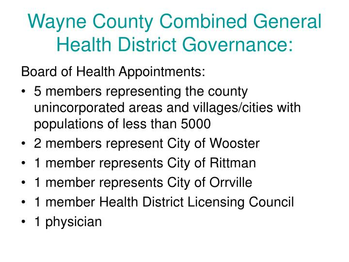 Wayne County Combined General Health District Governance:
