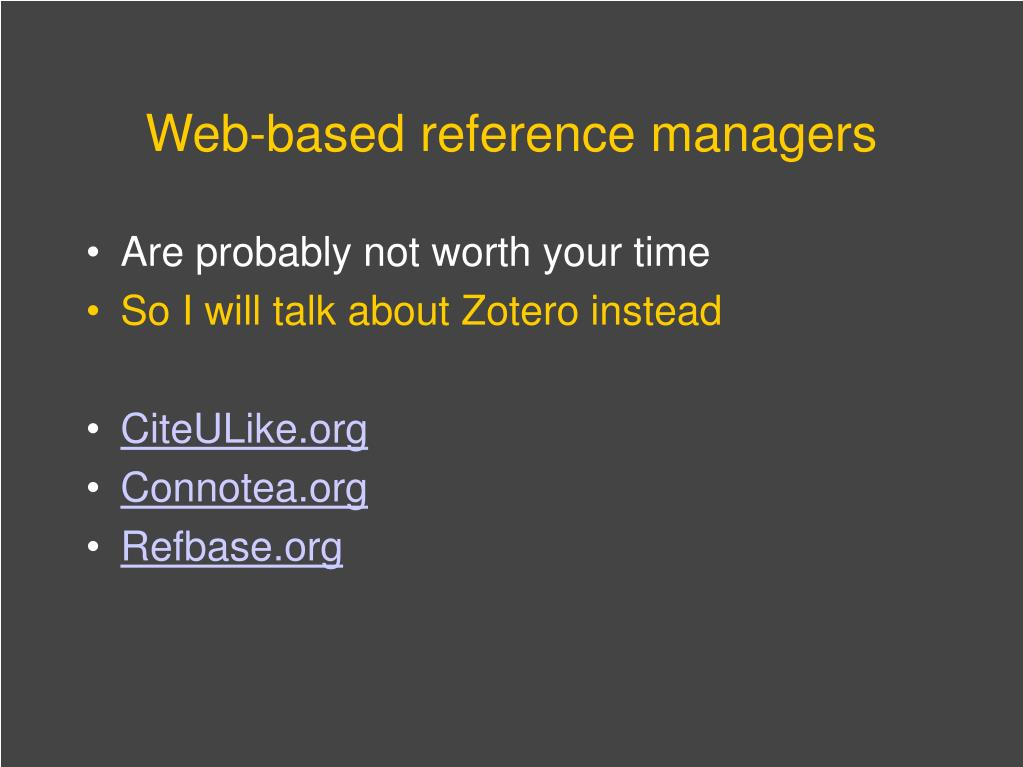 Web-based reference managers