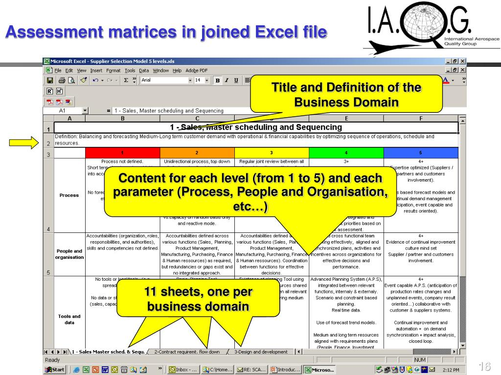 Assessment matrices in joined Excel file