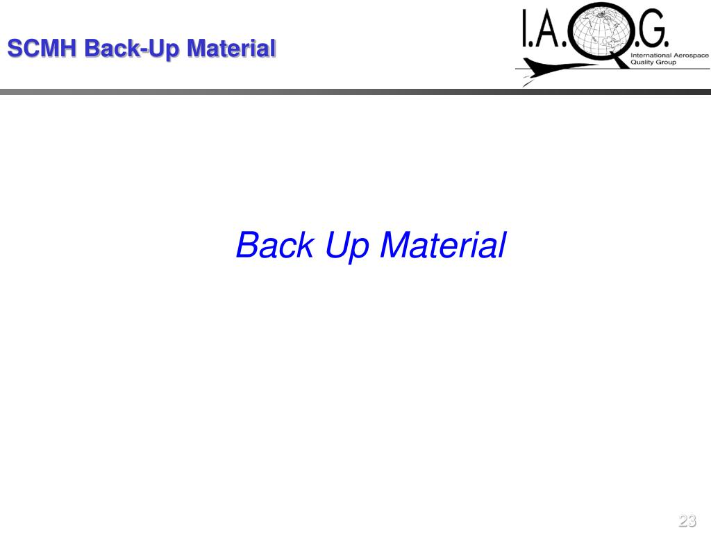 SCMH Back-Up Material