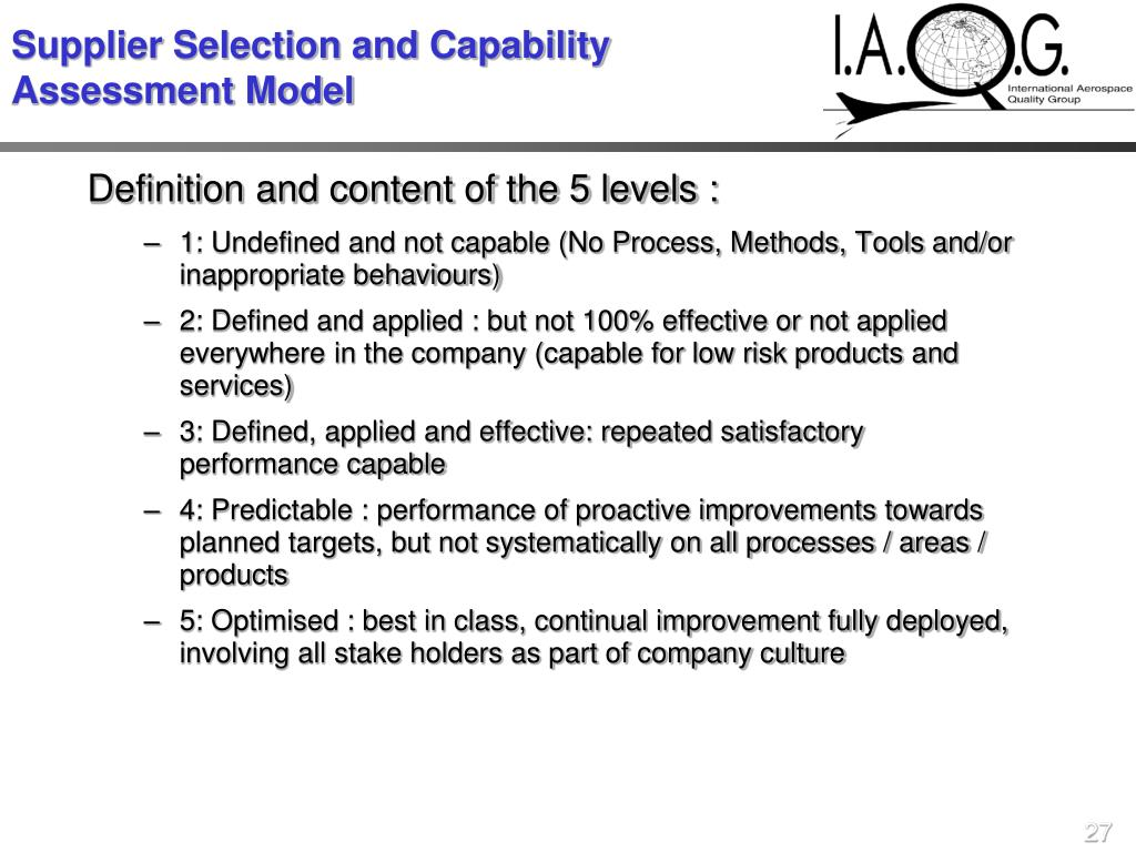 Supplier Selection and Capability Assessment Model