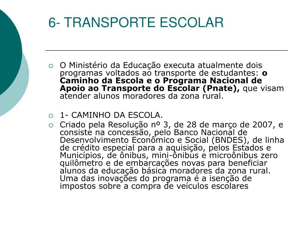 6- TRANSPORTE ESCOLAR