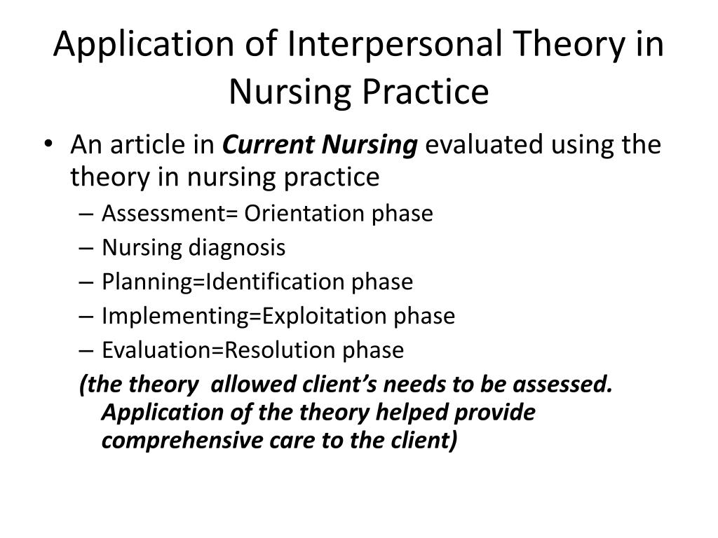Application of Interpersonal Theory in Nursing Practice