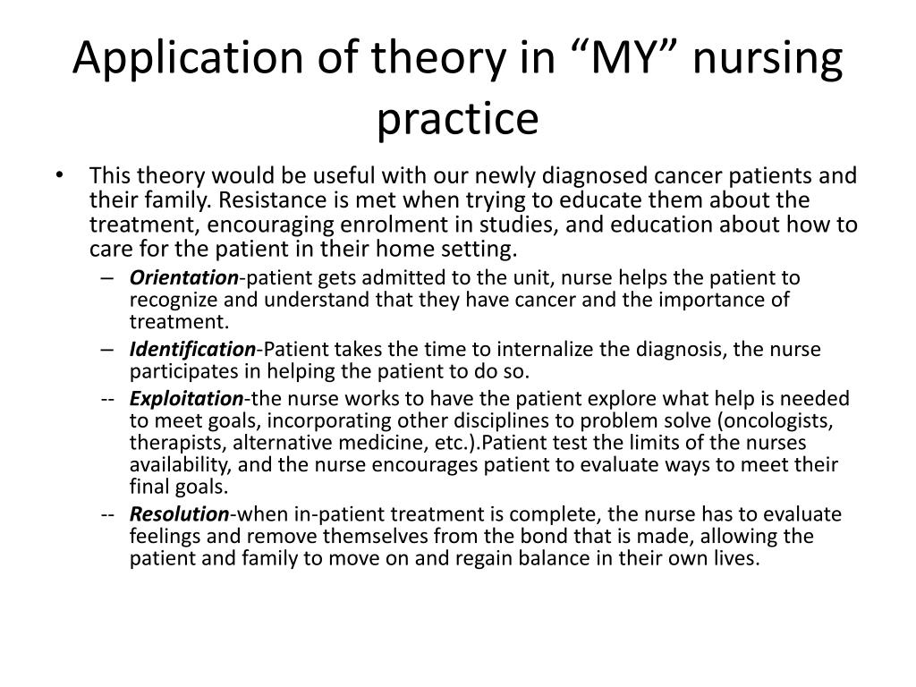 "Application of theory in ""MY"" nursing practice"