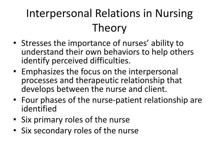 Interpersonal relations in nursing theory