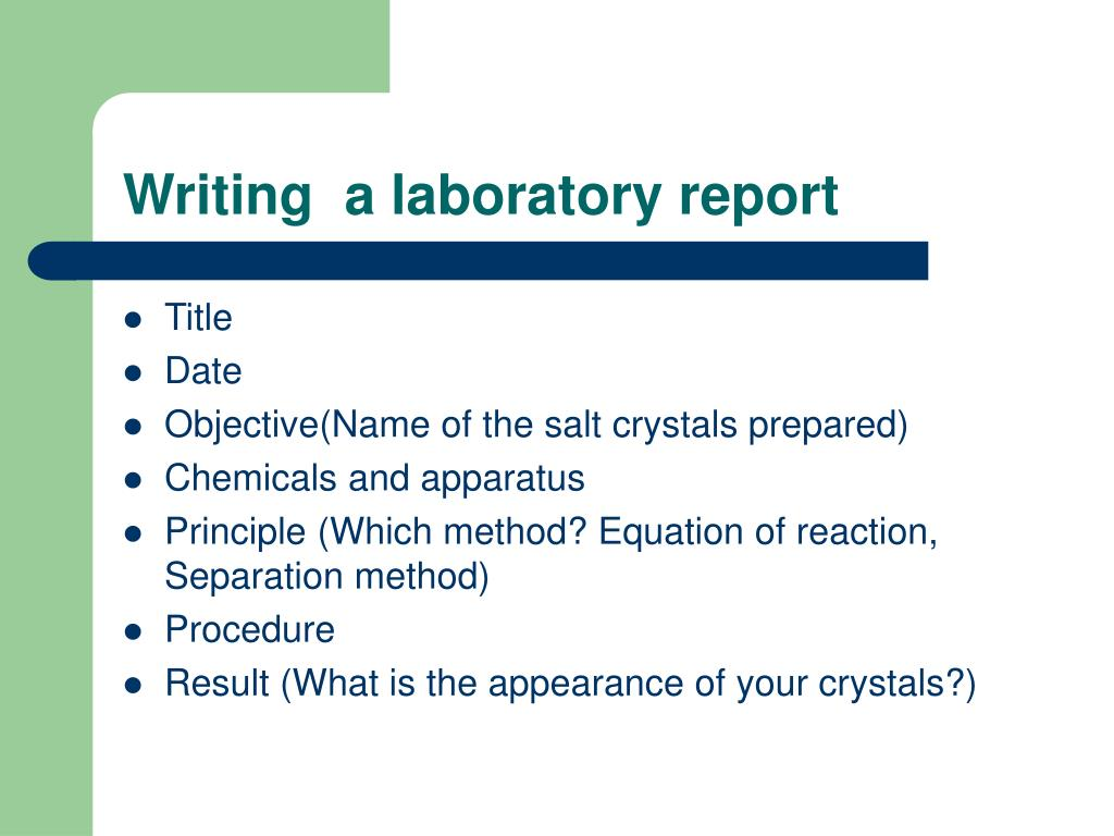 Writing  a laboratory report