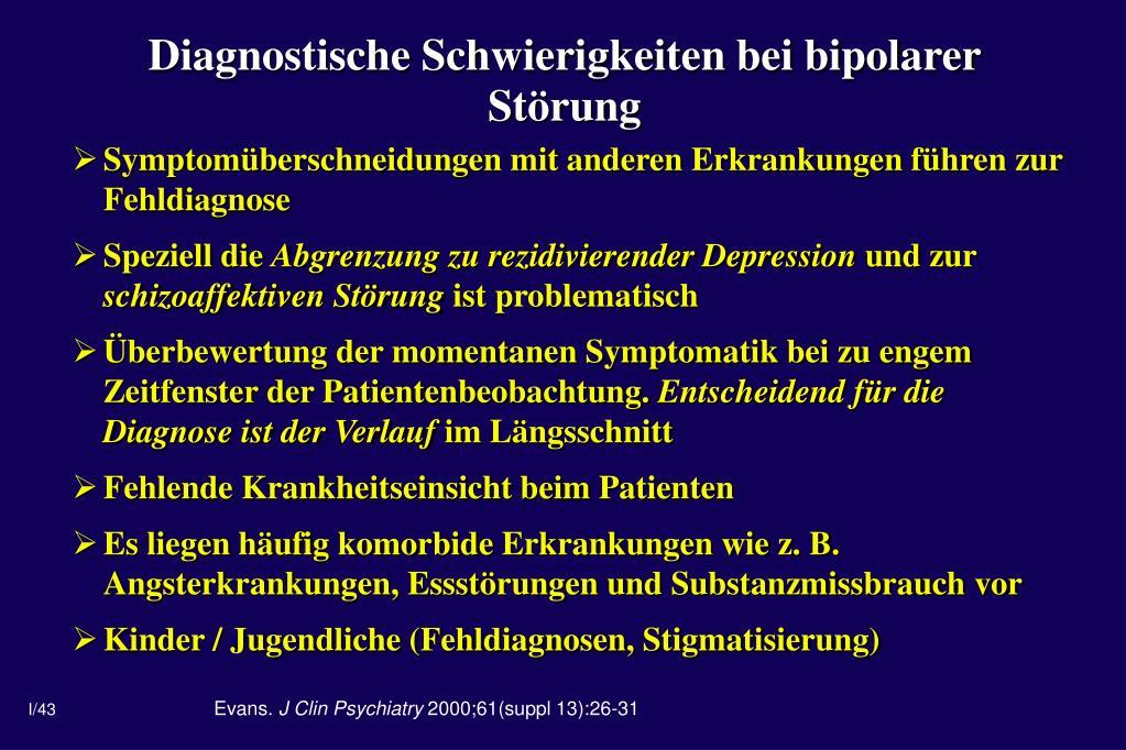 Diagnostische Schwierigkeiten bei bipolarer Störung