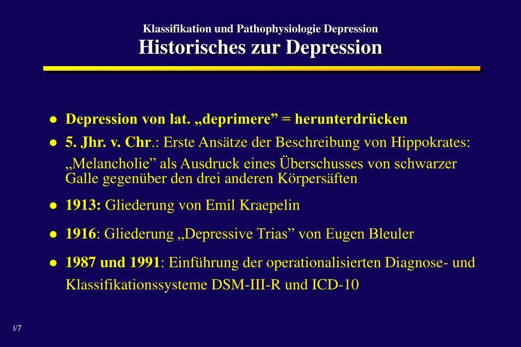 Klassifikation und Pathophysiologie Depression
