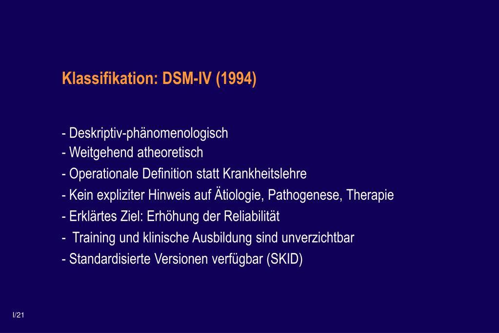 Klassifikation: DSM-IV (1994)