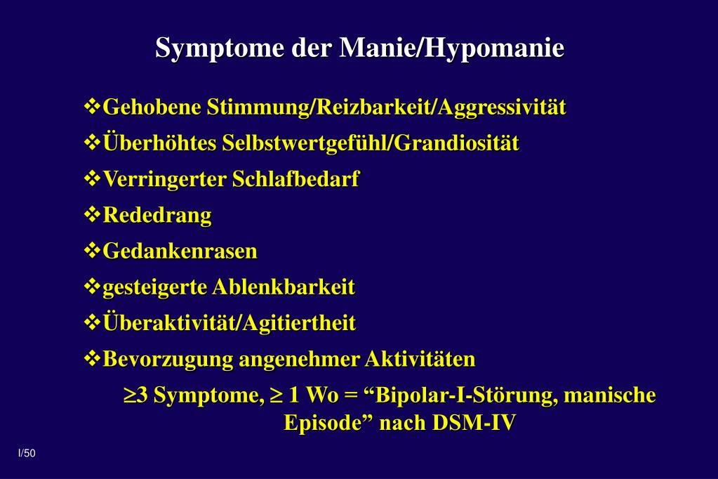 Symptome der Manie/Hypomanie