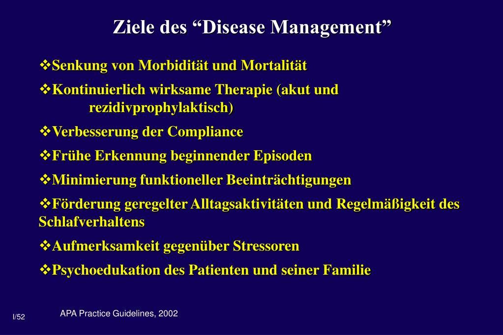 """Ziele des """"Disease Management"""""""