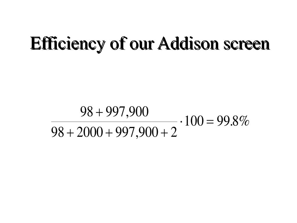 Efficiency of our Addison screen