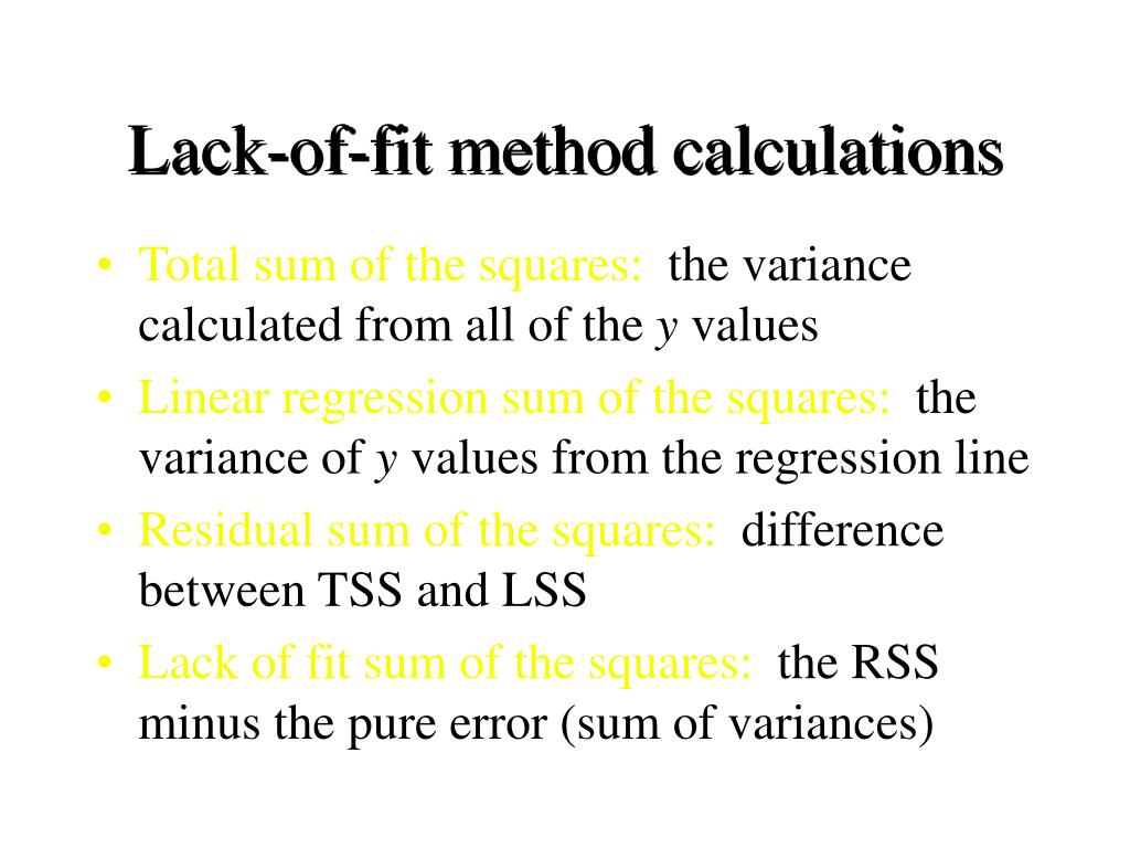 Lack-of-fit method calculations
