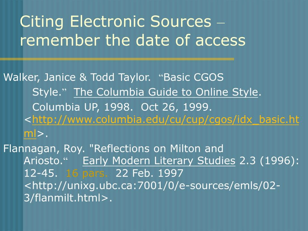 Citing Electronic Sources