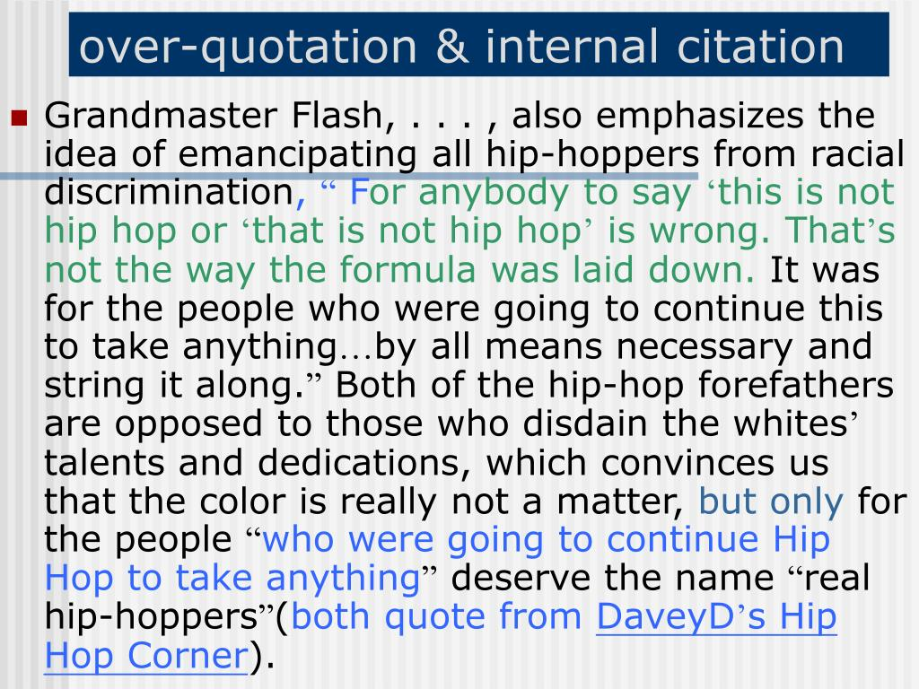 over-quotation & internal citation