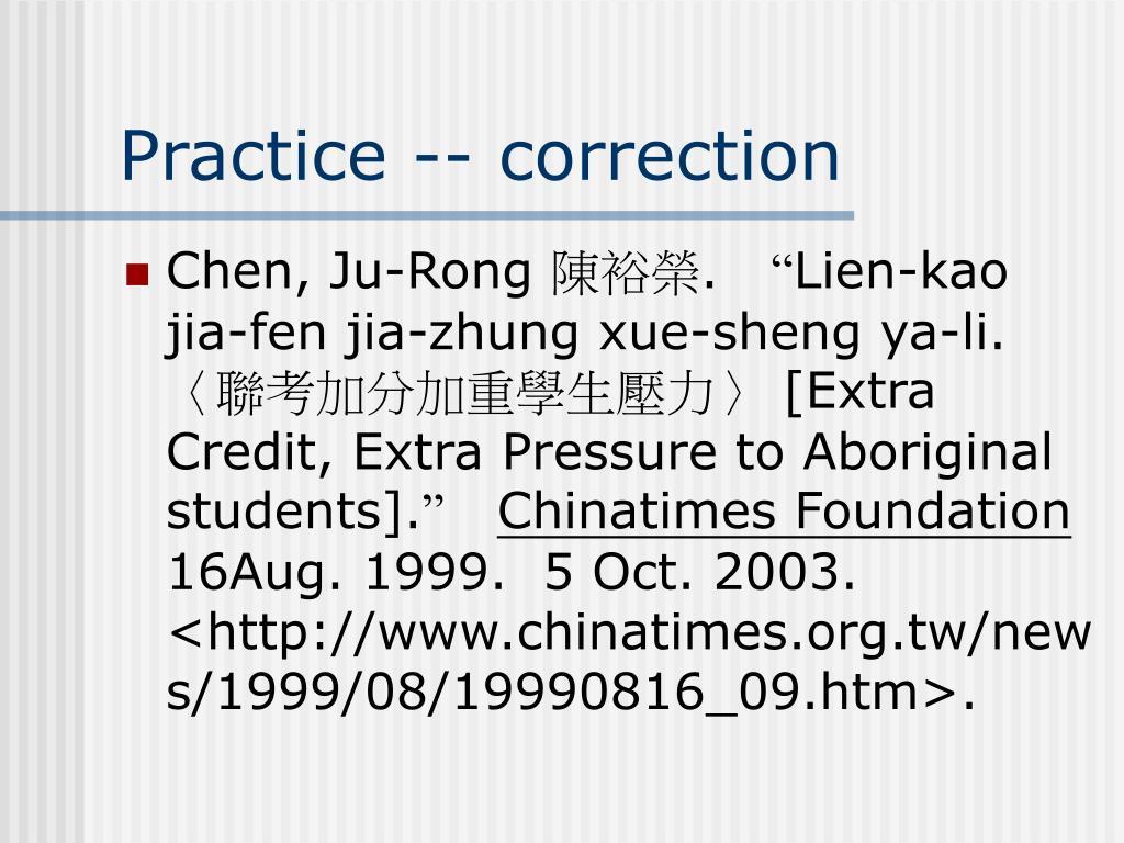 Practice -- correction