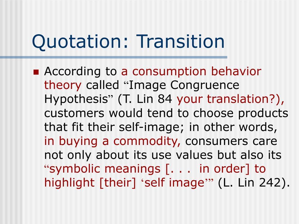 Quotation: Transition