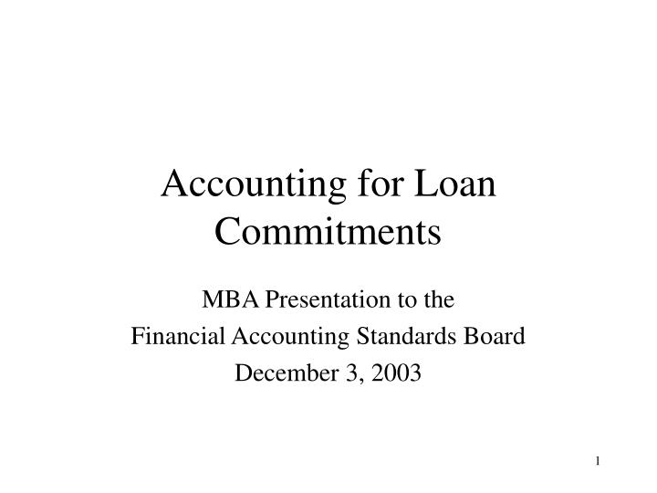Accounting for loan commitments