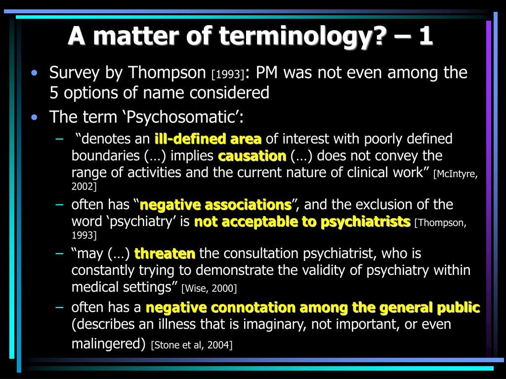 A matter of terminology? – 1