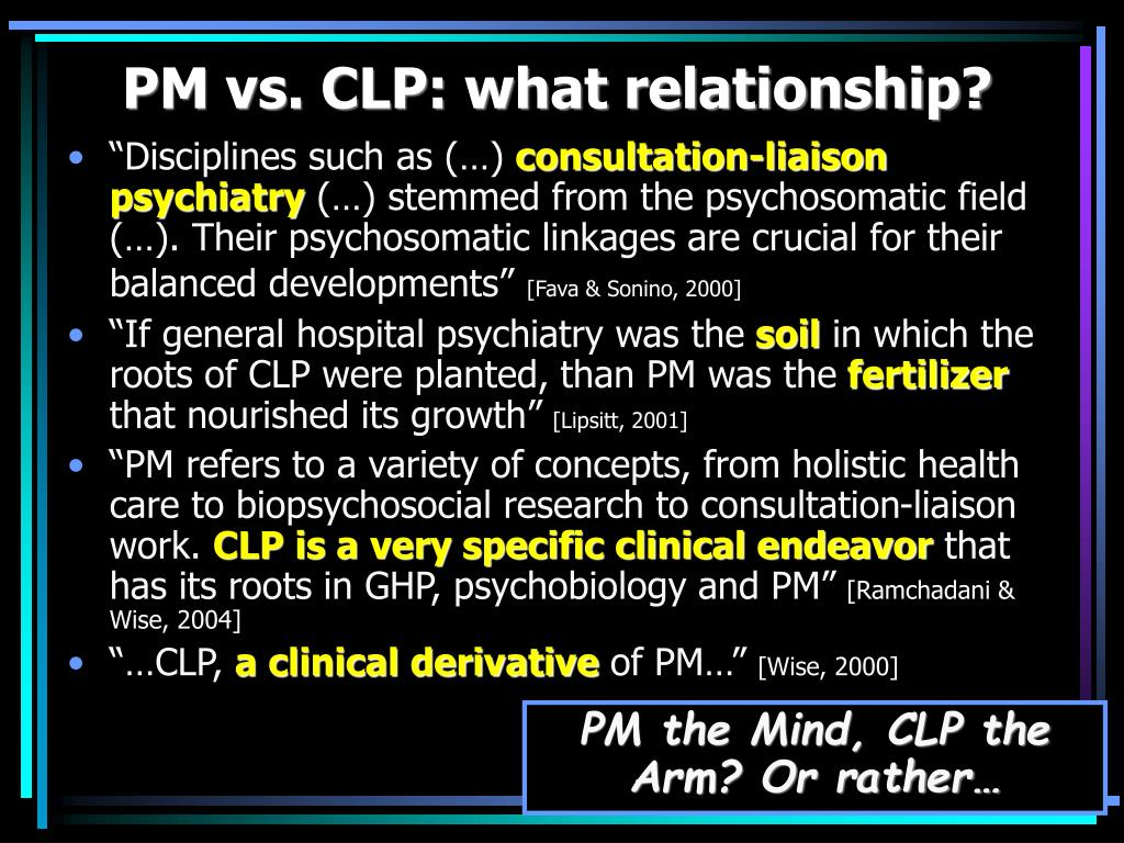 PM vs. CLP: what relationship?