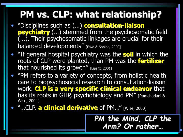 Pm vs clp what relationship