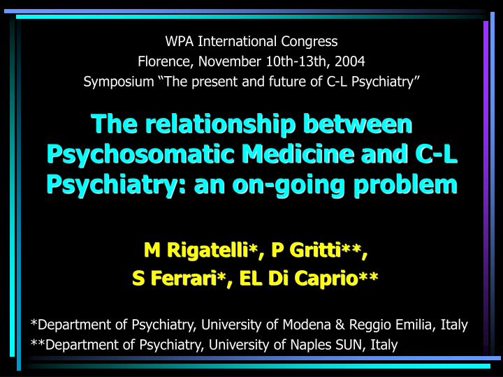 The relationship between psychosomatic medicine and c l psychiatry an on going problem l.jpg