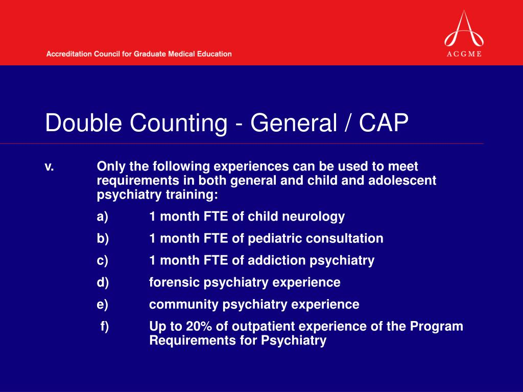Double Counting - General / CAP