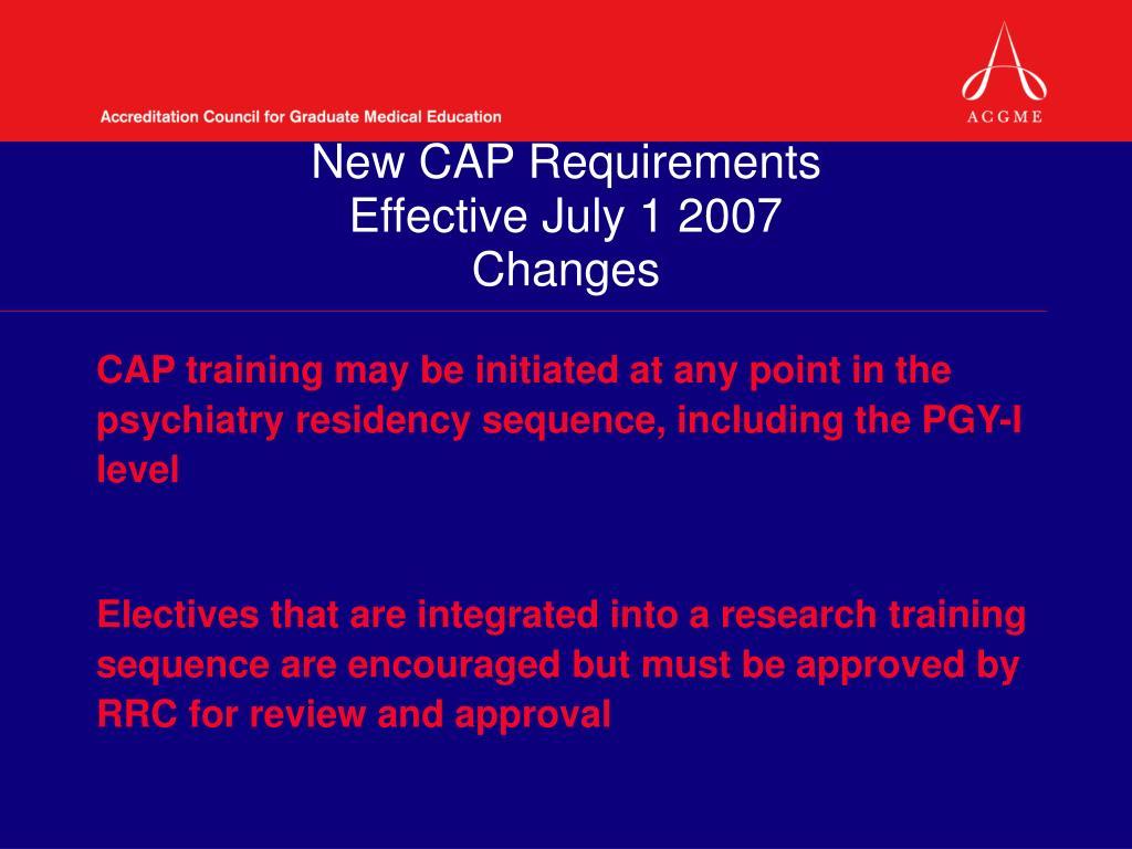 New CAP Requirements