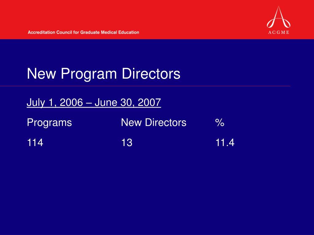 New Program Directors