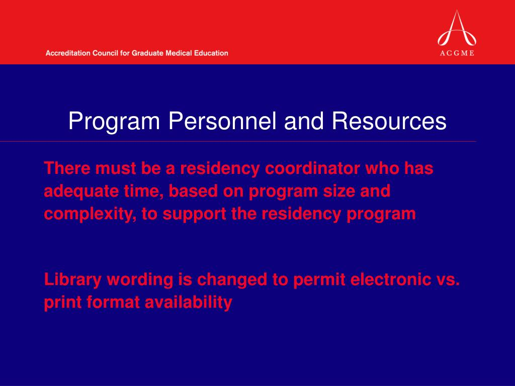 Program Personnel and Resources