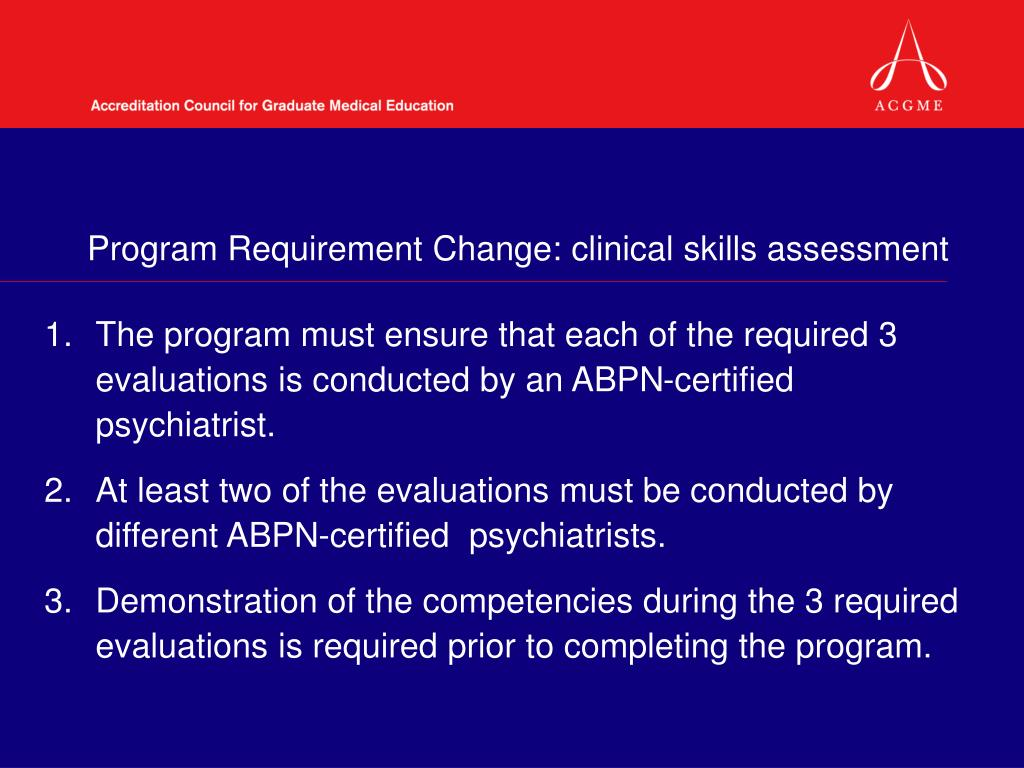 Program Requirement Change: clinical skills assessment