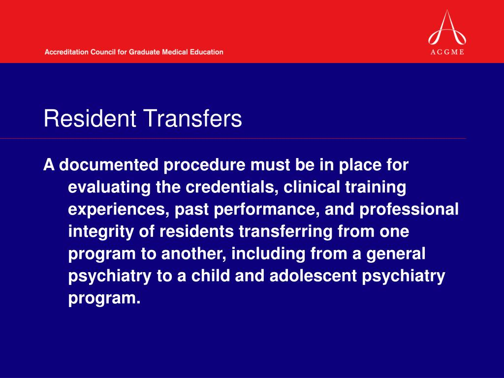 Resident Transfers