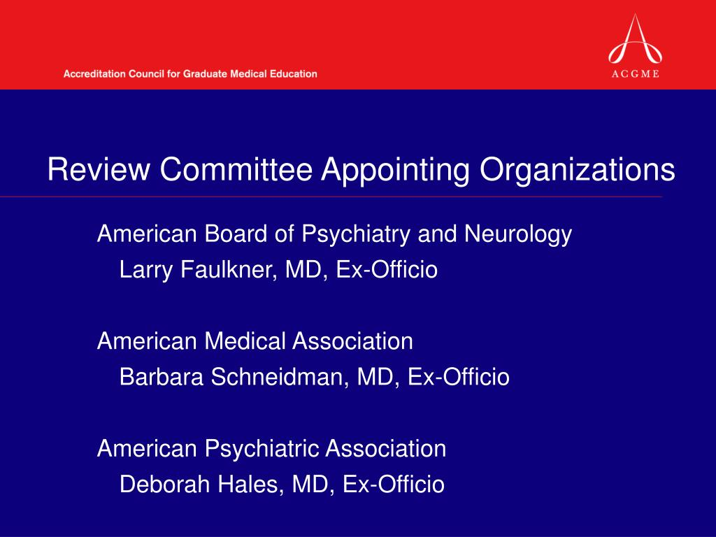 Review Committee Appointing Organizations