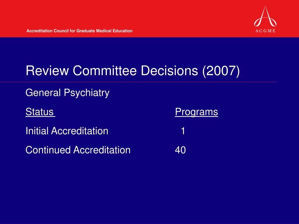 Review Committee Decisions (2007)