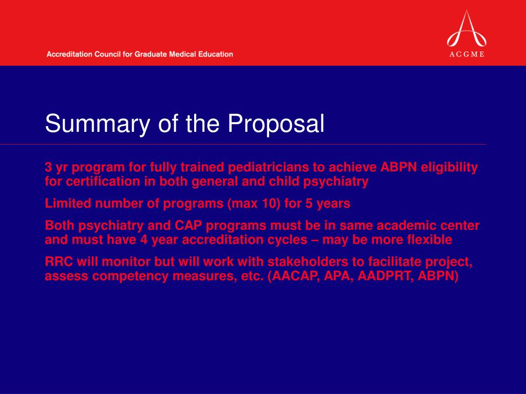 Summary of the Proposal