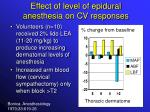 effect of level of epidural anesthesia on cv responses