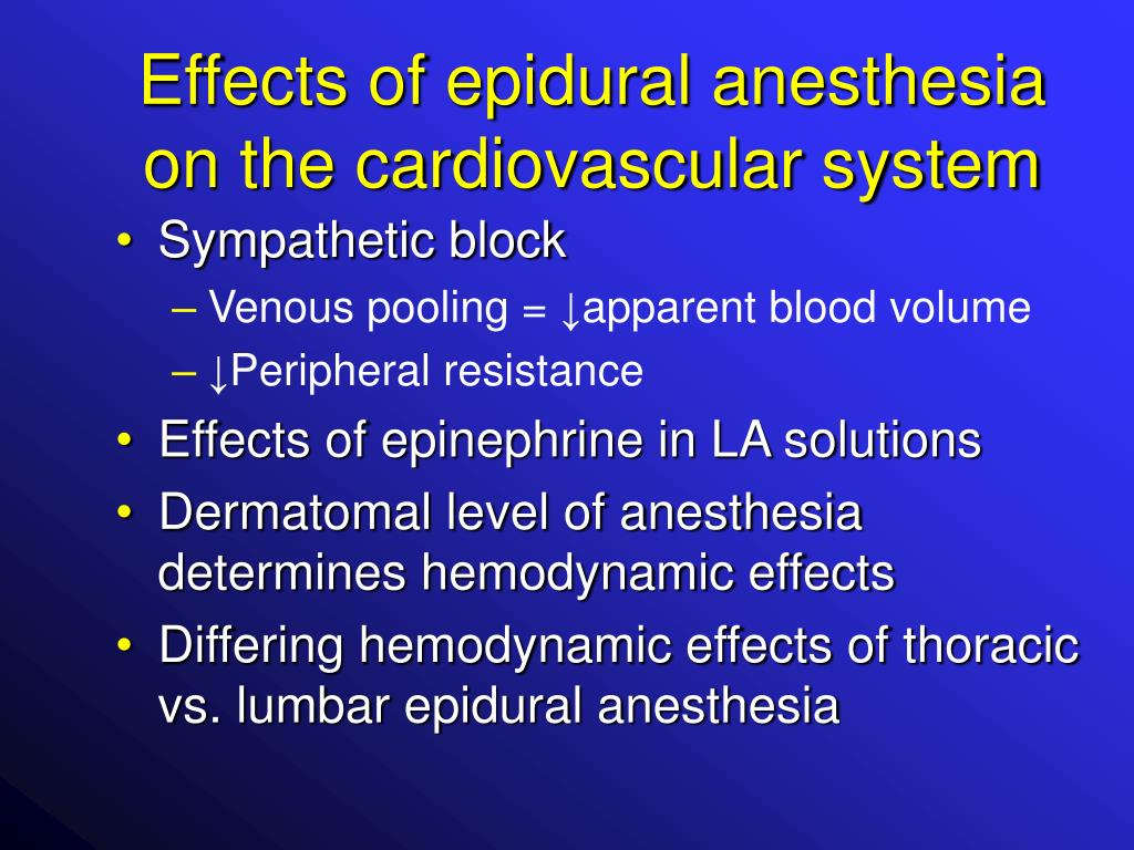 Effects of epidural anesthesia on the cardiovascular system