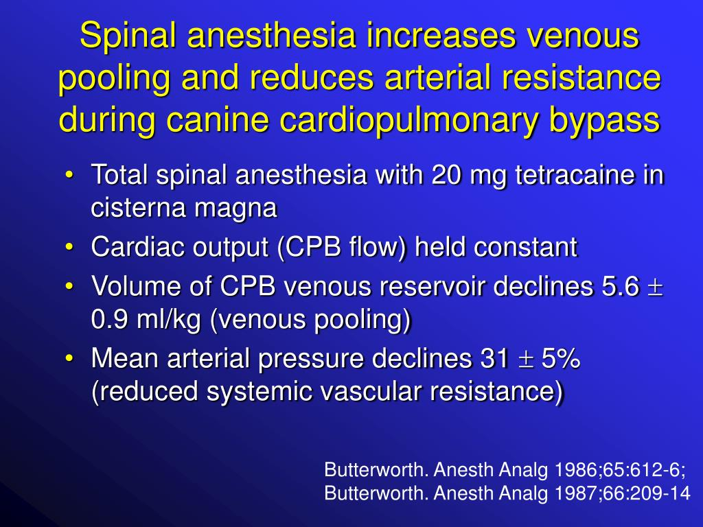 Spinal anesthesia increases venous pooling and reduces arterial resistance during canine cardiopulmonary bypass