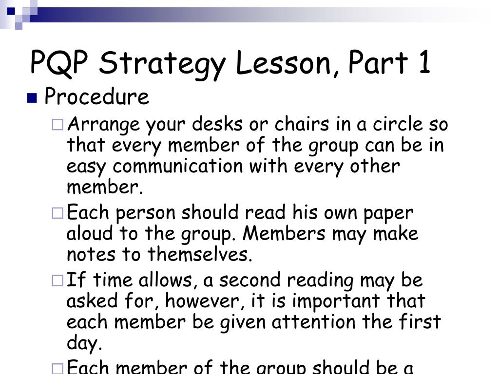 PQP Strategy Lesson, Part 1