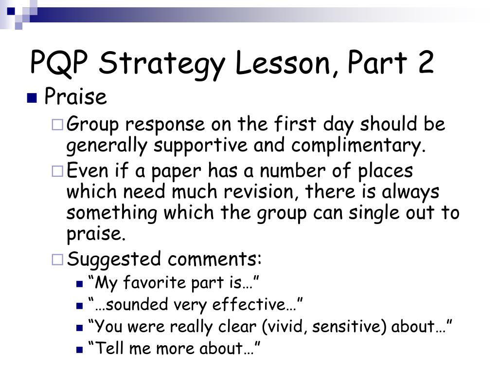 PQP Strategy Lesson, Part 2