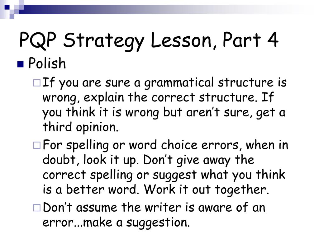PQP Strategy Lesson, Part 4