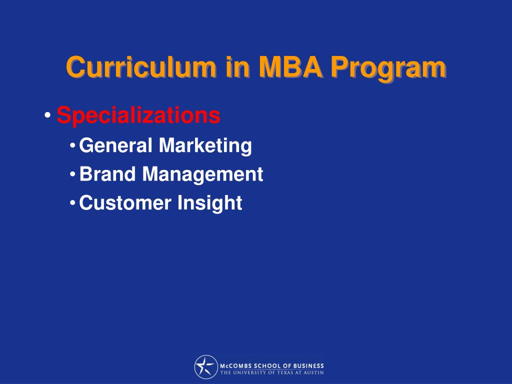 Curriculum in MBA Program