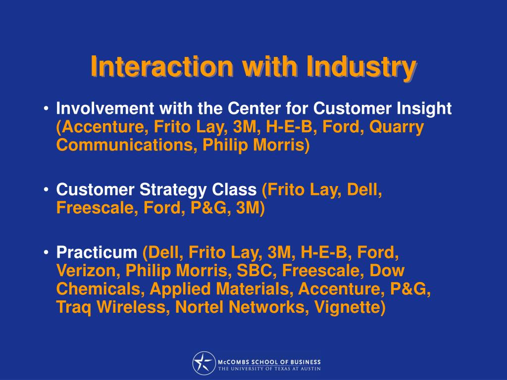 Interaction with Industry
