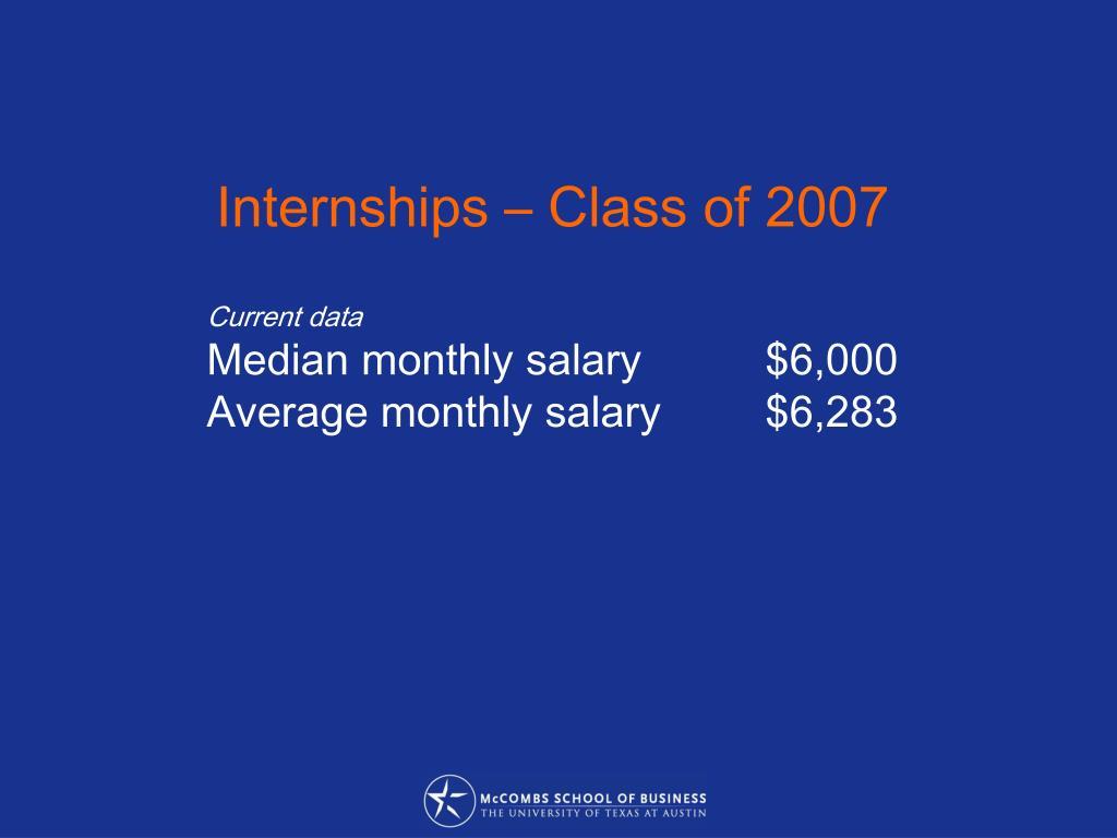 Internships – Class of 2007