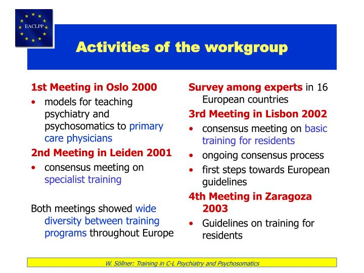 Activities of the workgroup