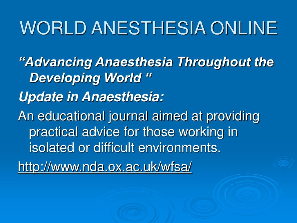 WORLD ANESTHESIA ONLINE