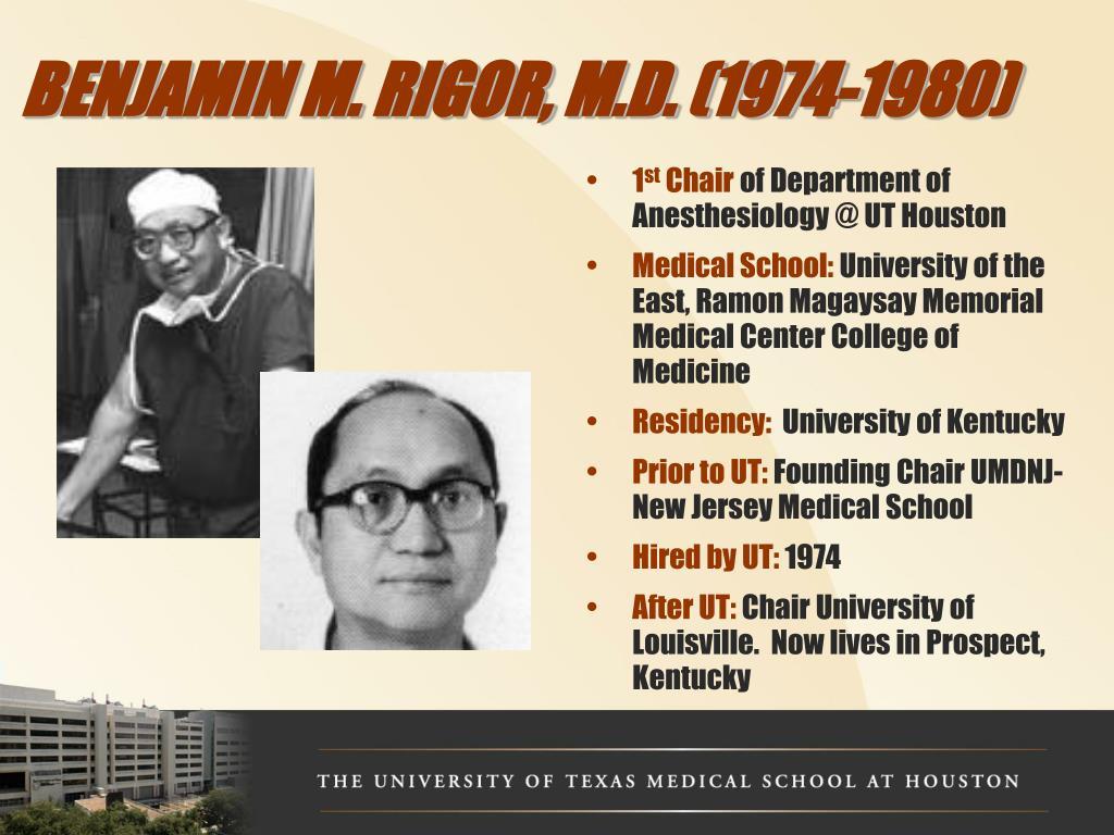 BENJAMIN M. RIGOR, M.D. (1974-1980)