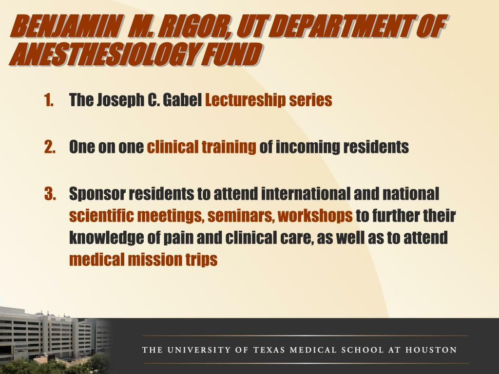 BENJAMIN  M. RIGOR, UT DEPARTMENT OF ANESTHESIOLOGY FUND