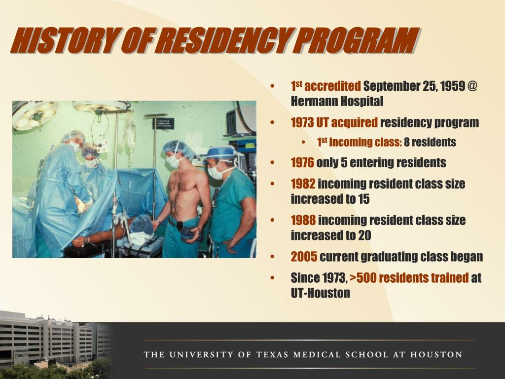 HISTORY OF RESIDENCY PROGRAM