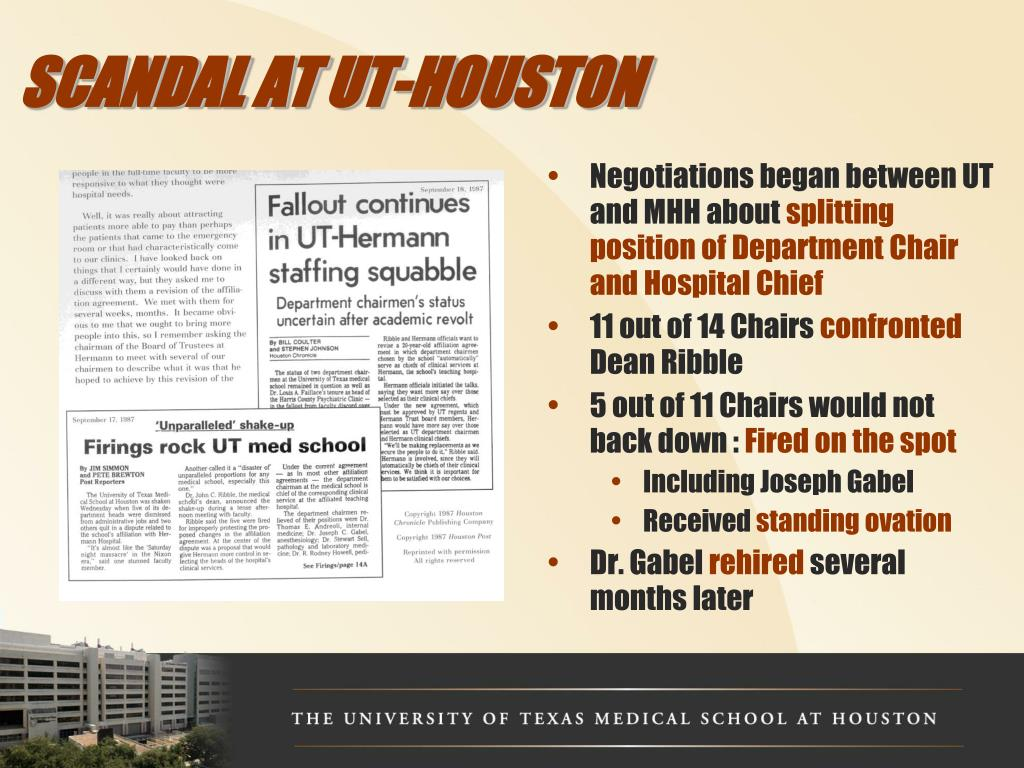 SCANDAL AT UT-HOUSTON